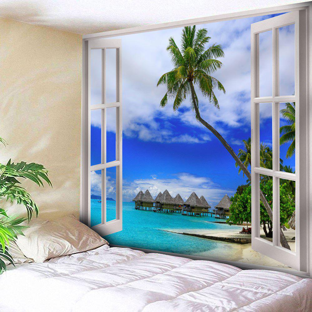 Window Printed Wall Hanging Coconut Tree TapestryHOME<br><br>Size: W91 INCH * L71 INCH; Color: BLUE; Style: Natural; Theme: Landscape; Material: Nylon,Polyester; Feature: Removable,Washable; Shape/Pattern: Plant,Print; Weight: 0.3750kg; Package Contents: 1 x Tapestry;