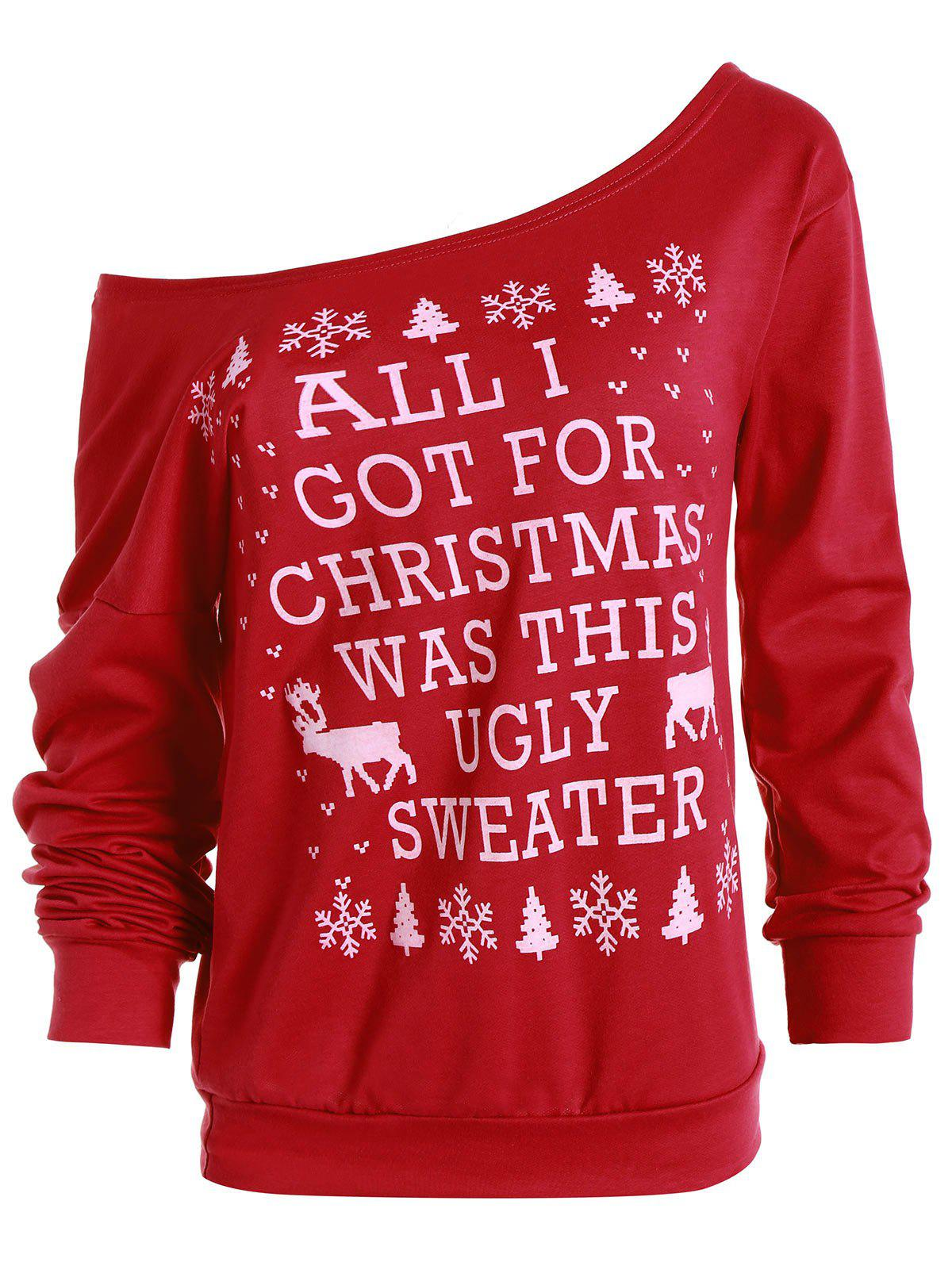 Skew Neck Snowflake and Elk Printed Christmas SweatshirtWOMEN<br><br>Size: XL; Color: RED; Material: Polyester; Shirt Length: Regular; Sleeve Length: Full; Style: Fashion; Pattern Style: Print; Season: Fall; Weight: 0.500KG; Package Contents: 1 x Sweatshirt;
