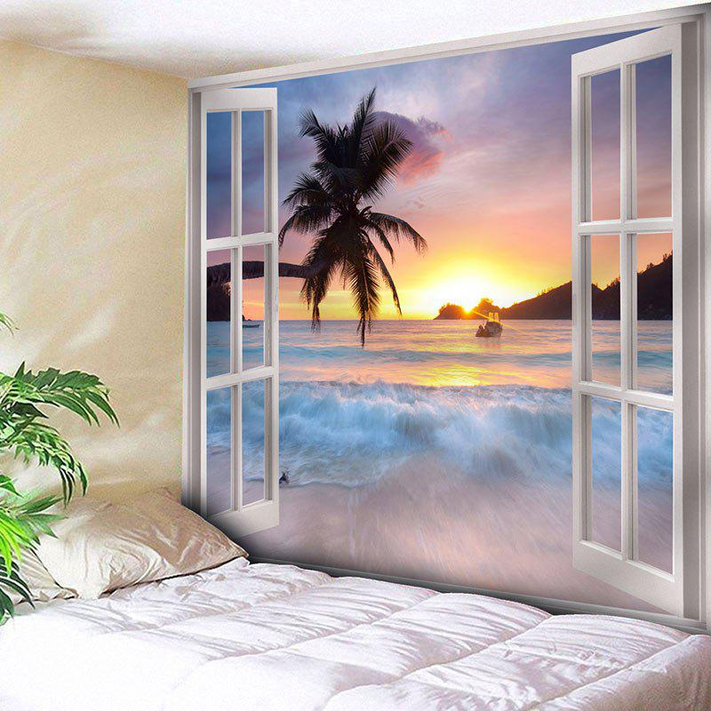 Window Scenery Wall Hanging Microfiber TapestryHOME<br><br>Size: W79 INCH * L71 INCH; Color: COLORMIX; Style: Beach Style; Theme: Landscape; Material: Nylon,Polyester; Feature: Removable,Washable; Shape/Pattern: Plant,Print; Weight: 0.3000kg; Package Contents: 1 x Tapestry;