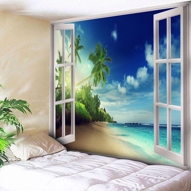Window Beach Printed Wall Hanging TapestryHOME<br><br>Size: W59 INCH * L51 INCH; Color: BLUE; Style: Beach Style; Theme: Landscape; Material: Nylon,Polyester; Feature: Removable,Washable; Shape/Pattern: Plant,Print; Weight: 0.1800kg; Package Contents: 1 x Tapestry;