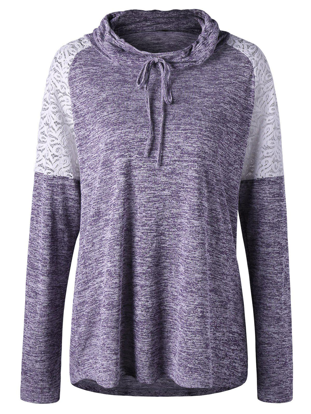 Plus Size Heather Lace Insert TopWOMEN<br><br>Size: 4XL; Color: PURPLE; Material: Polyester,Spandex; Shirt Length: Long; Sleeve Length: Full; Collar: Cowl Neck; Style: Casual; Season: Fall,Spring,Summer; Embellishment: Lace; Pattern Type: Others; Weight: 0.2800kg; Package Contents: 1 x Top;