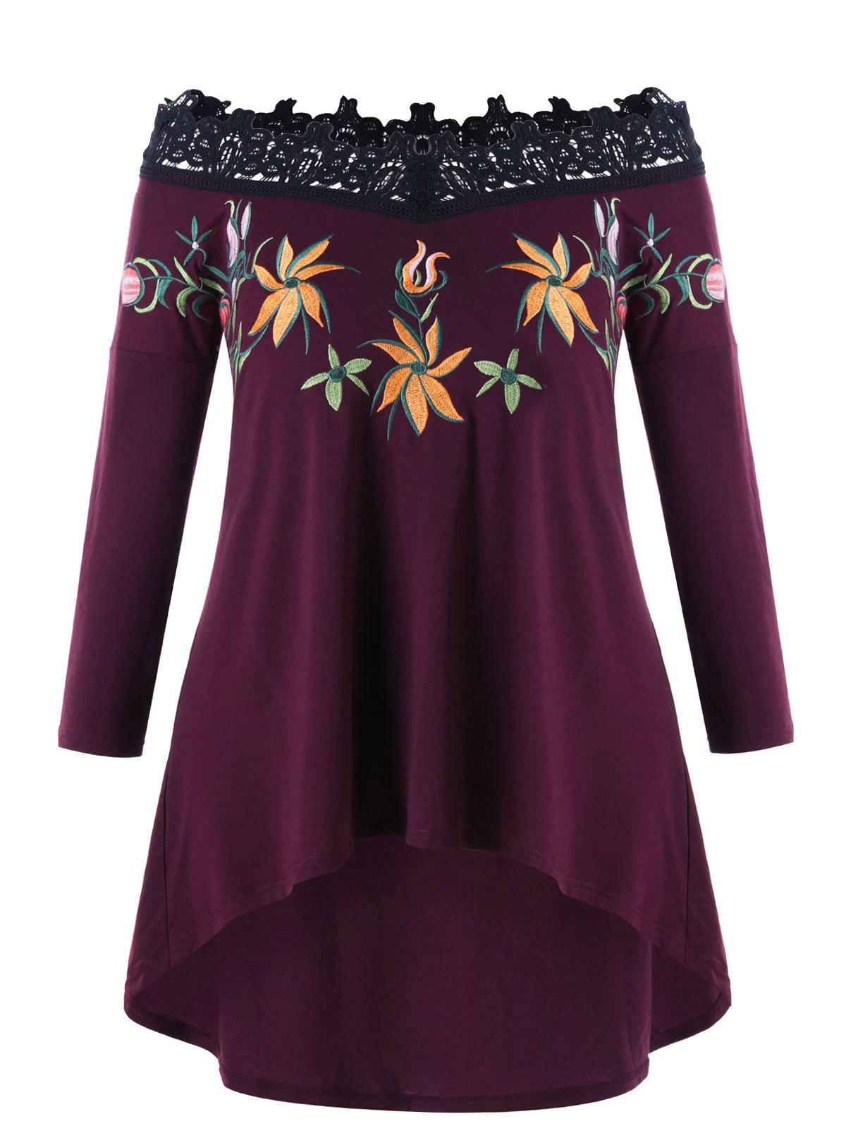 High Low Plus Size Embroidery Off Shoulder TopWOMEN<br><br>Size: 4XL; Color: COLORMIX; Material: Polyester; Shirt Length: Long; Sleeve Length: Full; Collar: Off The Shoulder; Style: Fashion; Season: Fall,Spring; Embellishment: Embroidery; Pattern Type: Others; Weight: 0.3550kg; Package Contents: 1 x Top;