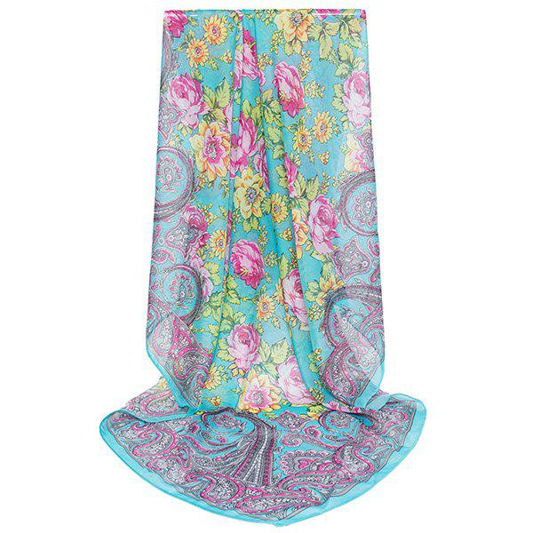 Vintage Paisley Flowers Printing Shawl ScarfACCESSORIES<br><br>Color: BLUE GREEN; Scarf Type: Scarf; Group: Adult; Gender: For Women; Style: Vintage; Pattern Type: Floral,Print; Season: Fall,Spring,Summer,Winter; Scarf Length: 98CM; Scarf Width (CM): 98CM; Weight: 0.0100kg; Package Contents: 1 x Scarf;