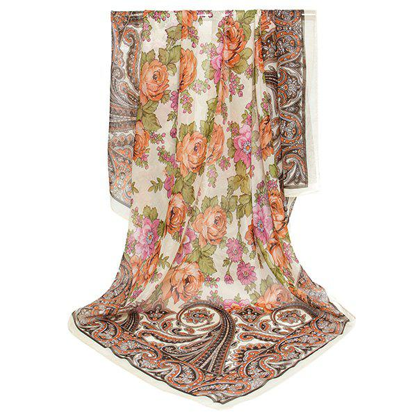 Vintage Paisley Flowers Printing Shawl ScarfACCESSORIES<br><br>Color: KHAKI; Scarf Type: Scarf; Group: Adult; Gender: For Women; Style: Vintage; Pattern Type: Floral,Print; Season: Fall,Spring,Summer,Winter; Scarf Length: 98CM; Scarf Width (CM): 98CM; Weight: 0.0100kg; Package Contents: 1 x Scarf;
