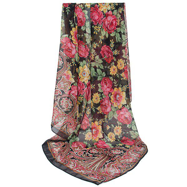 Vintage Paisley Flowers Printing Shawl ScarfACCESSORIES<br><br>Color: BLACK; Scarf Type: Scarf; Group: Adult; Gender: For Women; Style: Vintage; Pattern Type: Floral,Print; Season: Fall,Spring,Summer,Winter; Scarf Length: 98CM; Scarf Width (CM): 98CM; Weight: 0.0100kg; Package Contents: 1 x Scarf;