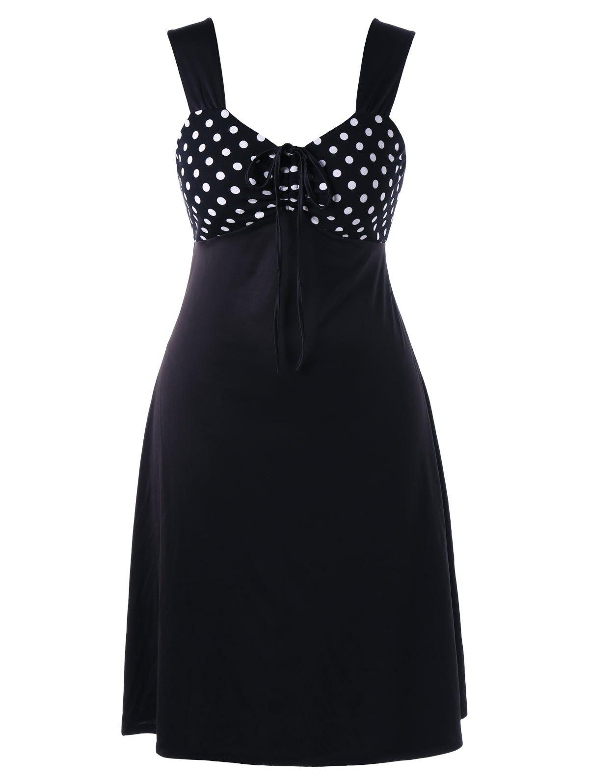 Polka Dot Sleeveless Plus Size Sweetheart DressWOMEN<br><br>Size: XL; Color: WHITE AND BLACK; Style: Vintage; Material: Polyester,Spandex; Silhouette: A-Line; Dresses Length: Knee-Length; Neckline: Sweetheart Neck; Sleeve Length: Sleeveless; Pattern Type: Polka Dot; With Belt: No; Season: Summer; Weight: 0.3700kg; Package Contents: 1 x Dress;