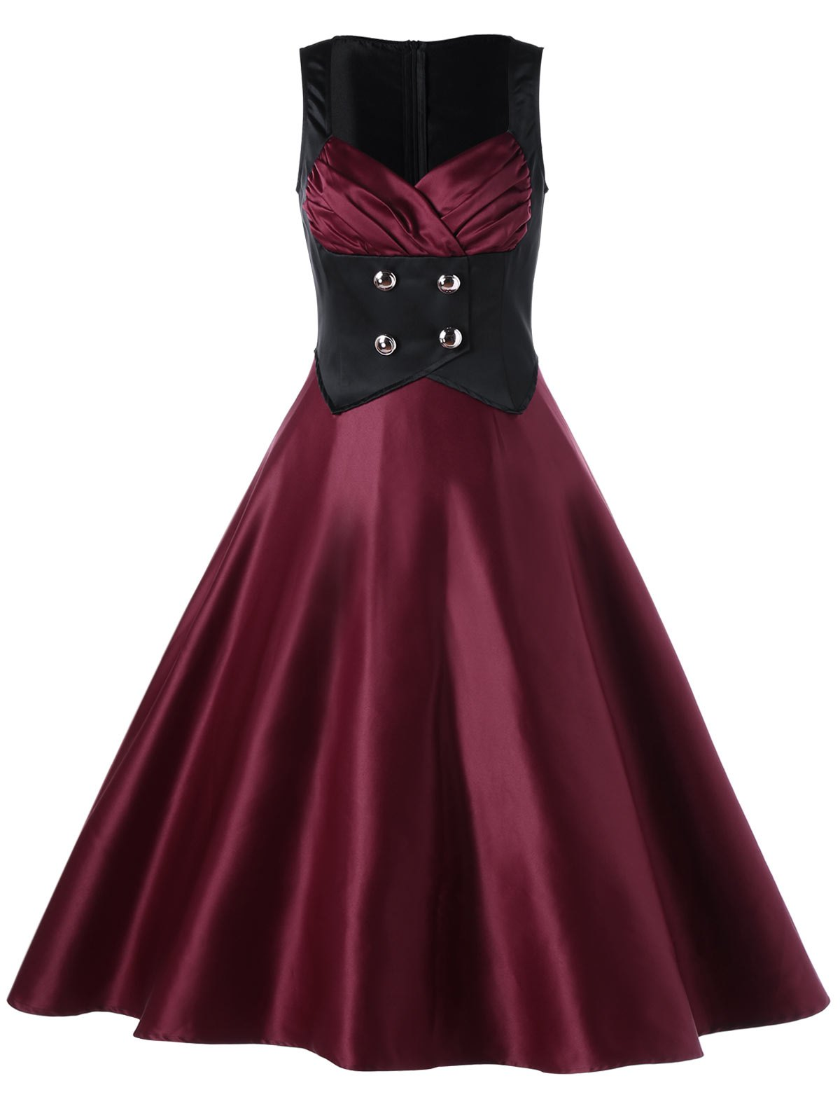 Sweetheart Neck Semi Cocktail Vintage Skater DressWOMEN<br><br>Size: L; Color: WINE RED; Style: Vintage; Material: Polyester; Silhouette: A-Line; Dresses Length: Mid-Calf; Neckline: Sweetheart Neck; Sleeve Length: Sleeveless; Pattern Type: Patchwork; With Belt: No; Season: Summer; Weight: 0.4500kg; Package Contents: 1 x Dress;