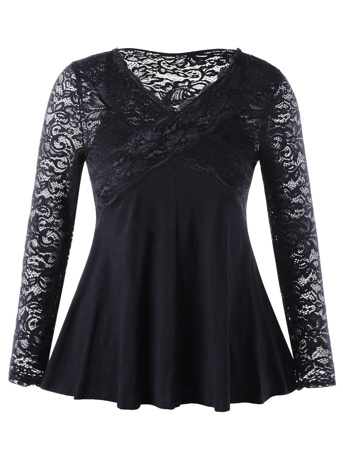 Lace Insert Empire Waist Plus Size TopWOMEN<br><br>Size: 4XL; Color: BLACK; Material: Polyester,Spandex; Shirt Length: Long; Sleeve Length: Full; Collar: V-Neck; Style: Fashion; Season: Fall,Spring; Pattern Type: Patchwork,Solid; Weight: 0.3500kg; Package Contents: 1 x Top;