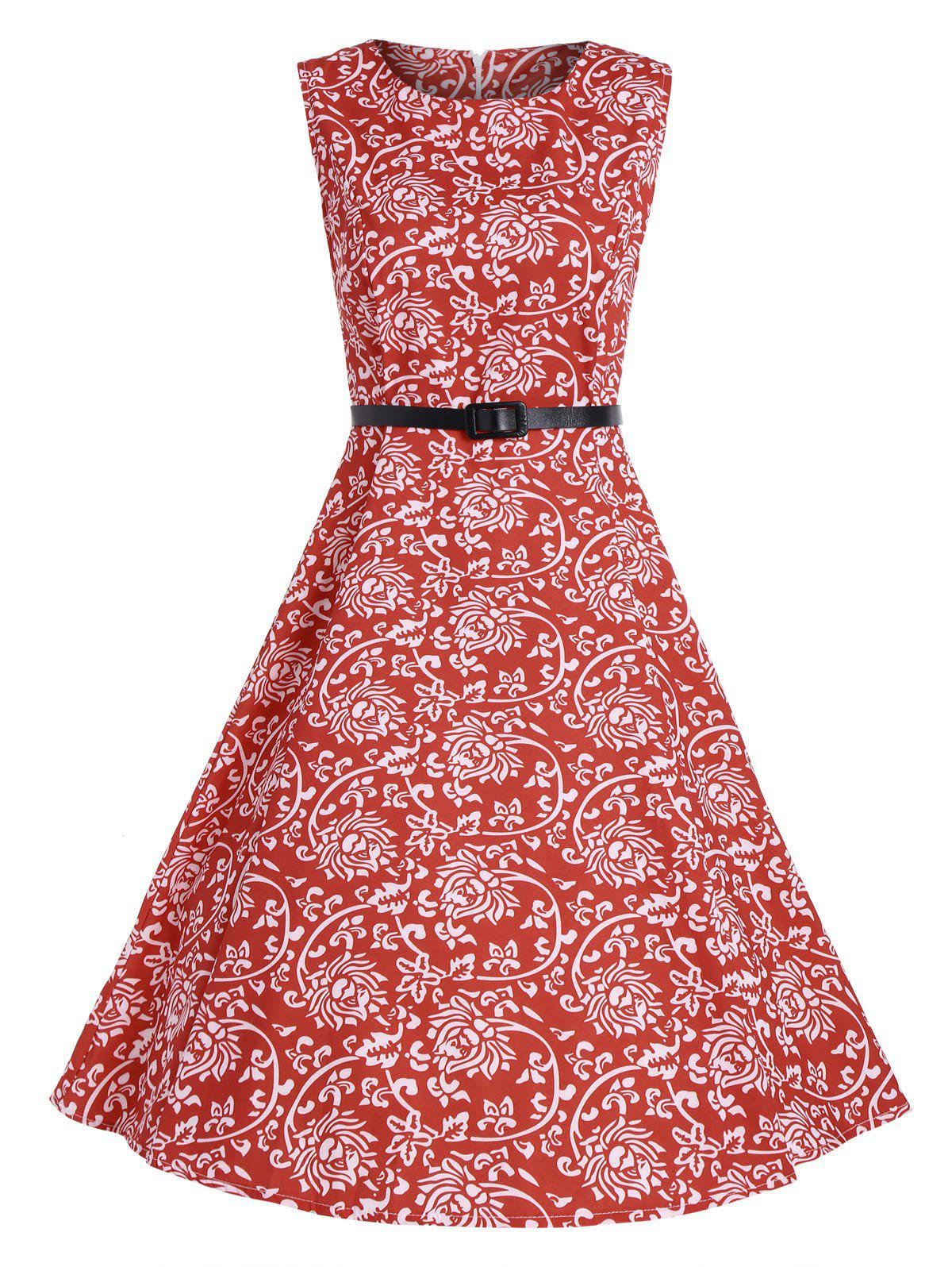 Print A Line High Waist Party Vintage DressWOMEN<br><br>Size: S; Color: RED; Style: Vintage; Material: Polyester; Silhouette: A-Line; Dresses Length: Knee-Length; Neckline: Round Collar; Sleeve Length: Sleeveless; Pattern Type: Print; With Belt: Yes; Season: Spring,Summer; Weight: 0.2800kg; Package Contents: 1 x Dress  1 x Belt;