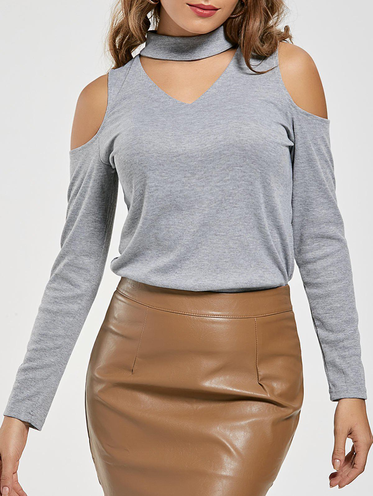 Affordable Cold Shoulder Choker Neck T-shirt
