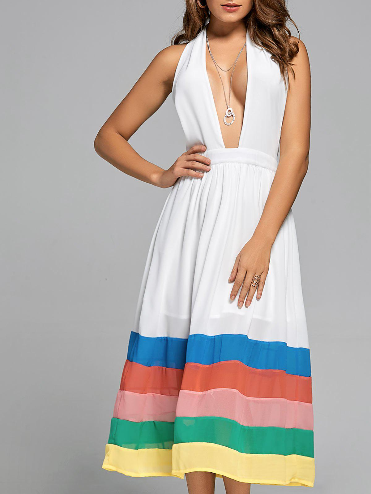Latest Halter Color Block Chiffon A Line Dress