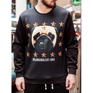 Plus Size Dog Print Sweatshirt - BLACK 4XL