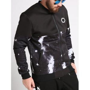 Plus Size Galaxy Printed Bomber Jacket - BLACK 4XL
