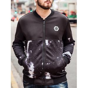 Plus Size Galaxy Printed Bomber Jacket - BLACK 6XL