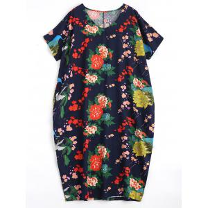 Plus Size Floral Midi Causal Dress with Pockets