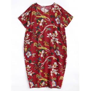 Plus Size Floral Printed Linen Midi Length Dress