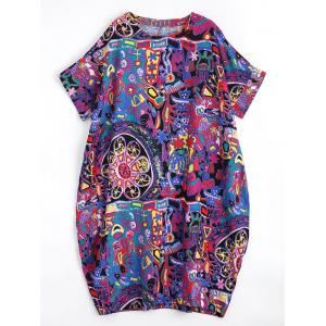 Plus Size Graffiti Linen Midi Dress with Pockets