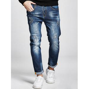 Plus Size Stitching Zip Fly Jeans