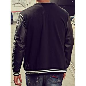Embroidery Patch PU Panel Bomber Jacket - BLACK 4XL