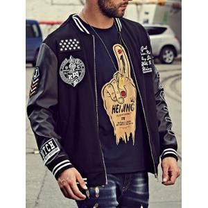Embroidery Patch PU Panel Bomber Jacket - BLACK 5XL