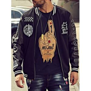 Embroidery Patch PU Panel Bomber Jacket - BLACK 6XL