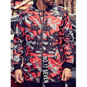 Plus Size Camo Jacket with Zip Pocket - RED 3XL