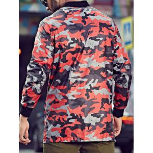 Plus Size Camo Jacket with Zip Pocket - RED 5XL