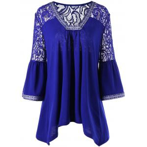 Lace Trim Plus Size Asymmetric Blouse - Cadetblue - 5xl