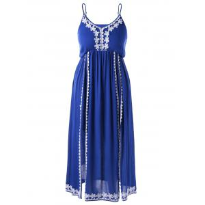 Plus Size Applique Bohemian High Slit Dress - Blue - 5xl
