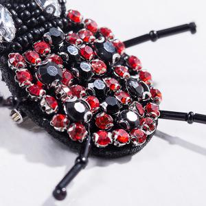 Rhinestoned Insect Brooch - BLACK