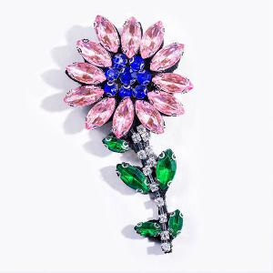 Sparkly Faux Crystal Flower Brooch