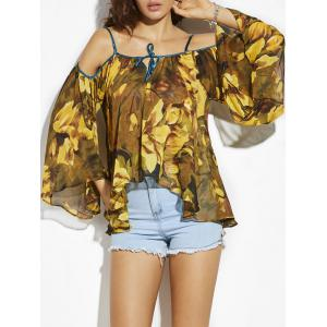 Cold Shoulder Flare Sleeve Chiffon Flower Blouse - Yellow - One Size