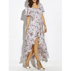 Button Up Belted Asymmetrical Chiffon Maxi Dress