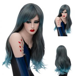 Long Side Bang Slightly Curly Colormix Synthetic Wig