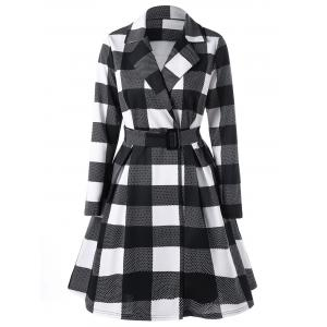 Plaid Notched Collar Skirt Coat - Black + White - 2xl