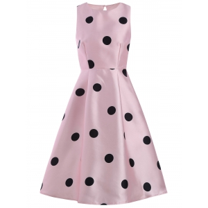 Polka Dot Print Sleeveless Pin Up Dress