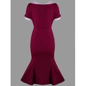 Swiss Dot Trim Bodycon Mermaid Dress - WINE RED XL