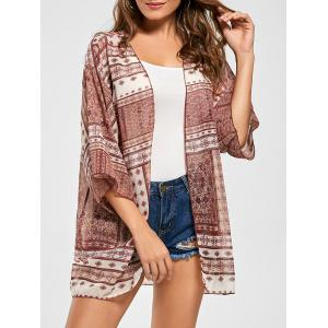 Tribal Print Chiffon Kimono Cover Up - Red - One Size