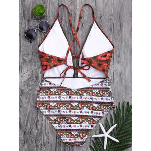 Plunge Floral One Piece Criss Cross Swimsuit - Multicolore XL