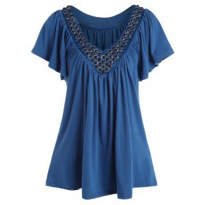 Plus Size V Neck Beaded Top