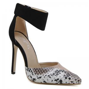 Point Toe Snake Printed High Heel Pumps
