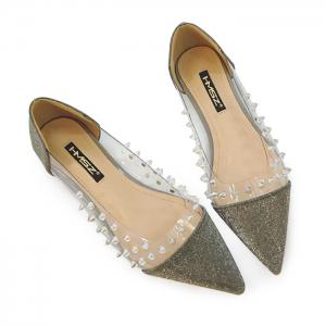 Clear Panel Studded Point Toe Flat - Black - 39