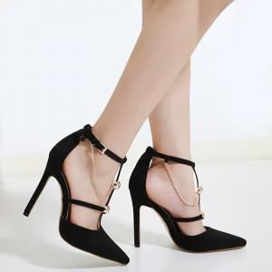 Point Toe Metal Chains T-strap Pumps