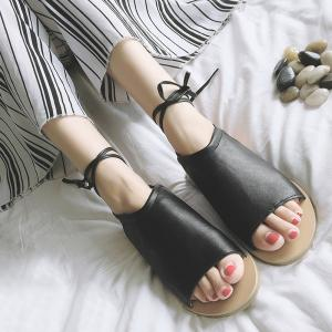 Flat Open Toe Lace Up Sandals - BLACK 37