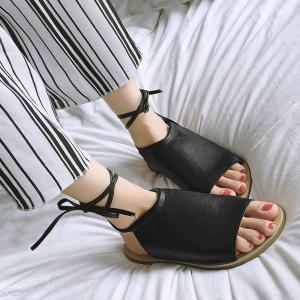 Flat Open Toe Lace Up Sandals - BLACK 38