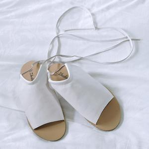 Flat Open Toe Lace Up Sandals - Blanc 38