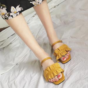 Block Heel Convertible Flounce Sandals - YELLOW 38