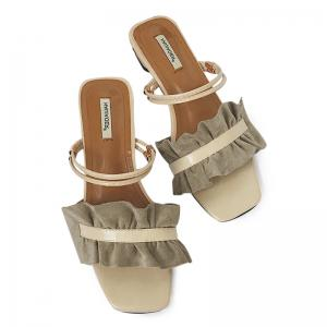 Block Heel Convertible Flounce Sandals - Khaki - 38