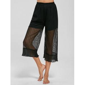 Sheer Ruffle Trim Capri Pants