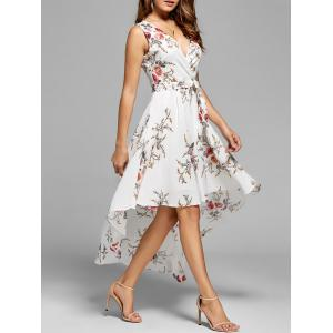 Floral High Low Dress - White - Xl